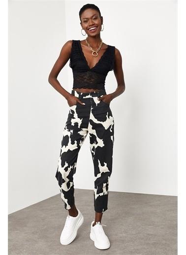 XHAN Siyah & Beyaz Desenli Pantolon 1Kxk5-44781-86  Siyah